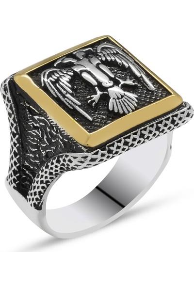 Tesbihname V Tasarım Selçuklu Çift Kartal Motifli 925 Ayar Gümüş Erkek Yüzük