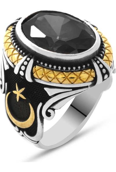 Tesbihname Siyah Zirkon Taşlı Ayyıldız Tasarım 925 Ayar Gümüş Sadrazam Yüzüğü