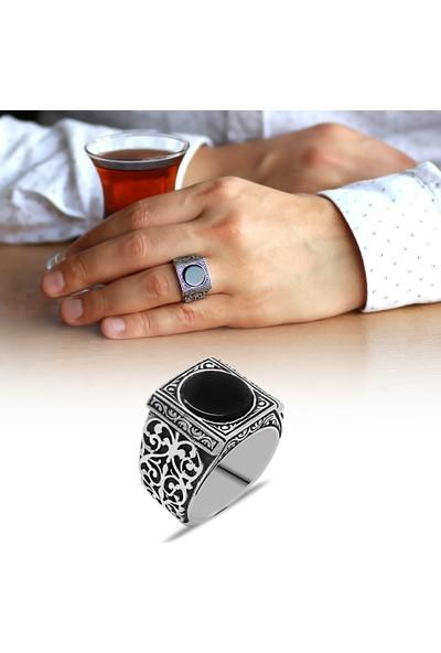 Tesbihname Erzurum Kalem İşlemeli Siyah Oniks Taşlı 925 Ayar Gümüş Erkek Yüzük