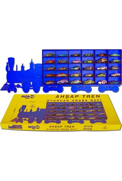 MinİQ Toys Ahşap Mavi Tren Oyuncak Araba Rafı