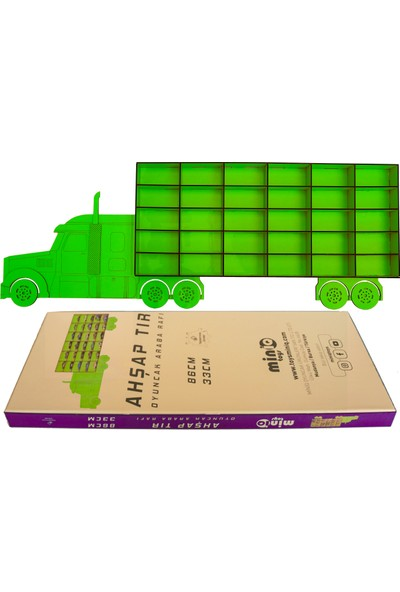 MinİQ Toys Ahşap Yeşil Tır Oyuncak Araba Rafı