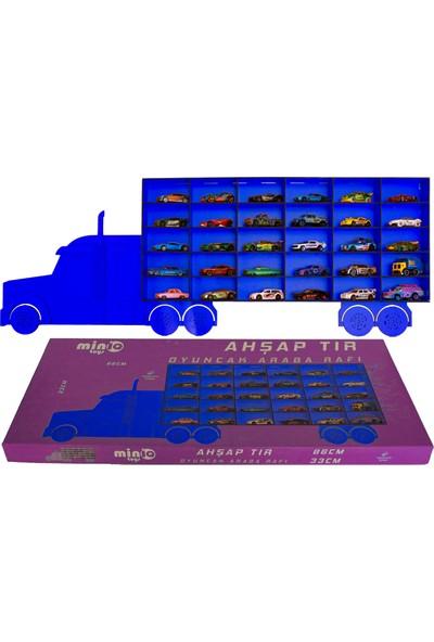 MinİQ Toys Ahşap Mavi Tır Oyuncak Araba Rafı