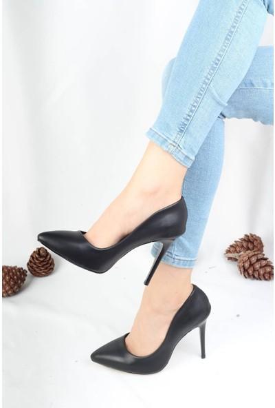 Modabuymus Yüksek Ince Topuklu Siyah Deri Stiletto Ayakkabı - Lapita