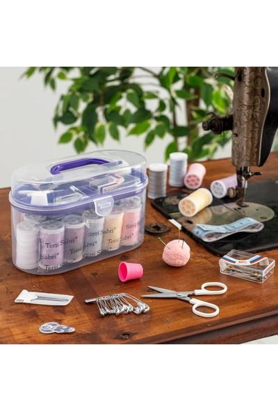 Favore Casa Kullanışlı Plastik Oval Kutu Dikiş Seti Mor