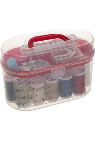 Favore Casa Kullanışlı Plastik Oval Kutu Dikiş Seti Kırmızı