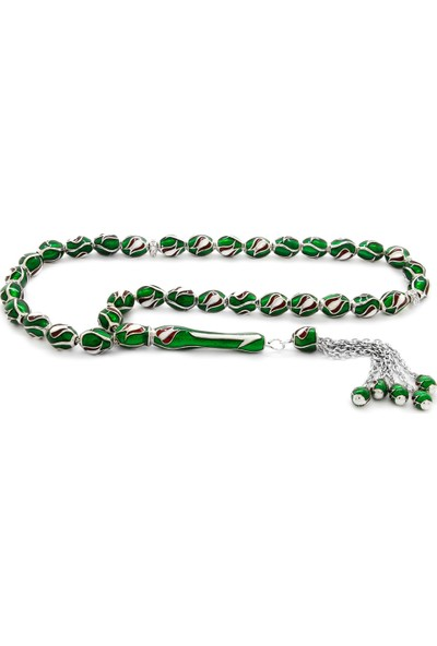 Tesbihname Lale Tasarım Yeşil Mineli Arpa Kesim 925 Ayar Gümüş Tesbih