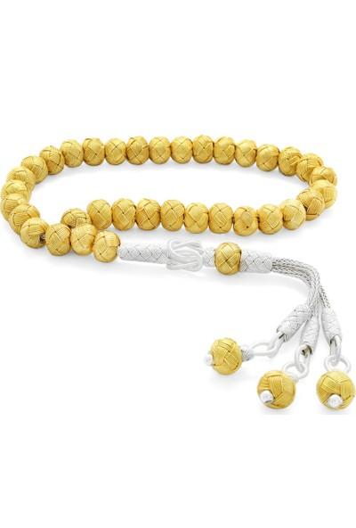 Tesbihname El Işçiliği Küre Kesim Bilek Boy Gold Renk 1000 Ayar Gümüş Kazaz Tesbih
