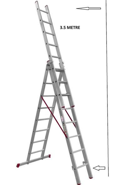 Beykon Alüminyum 3x2 mt A Tipi Toplam 6 mt Endüstriyel Sürgülü Ptt Merdiveni