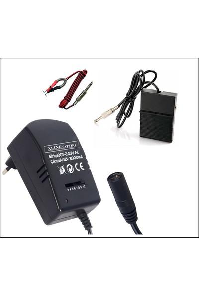 Xline 3AMPER 12V Voltaj Ayarlı Tattoo Dövme Adaptör + Clip Cord + Peda