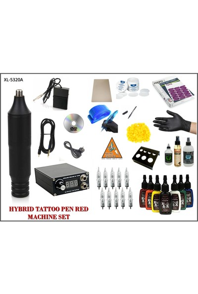 Xline XL-5320A Hybrid Siyah Renk Tattoo Pen Dövme Makinası Seti - Mabuchı Motor