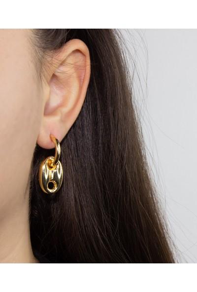 D'amore Atelier Altın Kaplama Düğme Model Sarkıt Küpe
