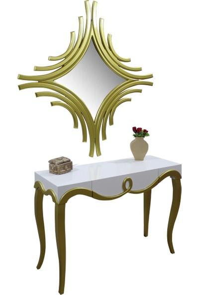 Bengi Cnc Dresuar Aynalı Gold Beyaz