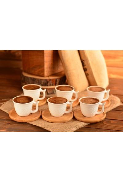 Poyraz Bambu Tabaklı 6'lı Kahve Fincan Takımı