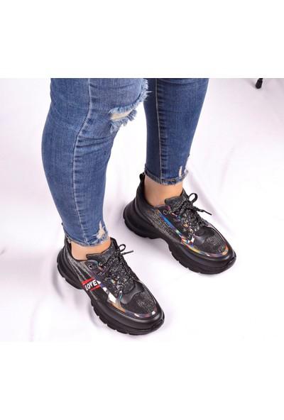 Flet Siyah Kadın Sneaker