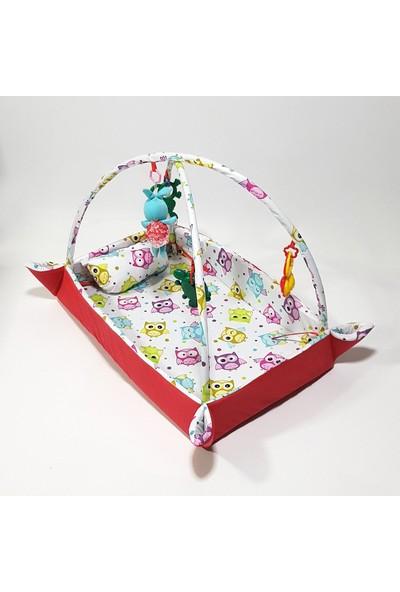 Mavienerji Çocuk Oyun Halısı Baykuş Model -Kırmızı