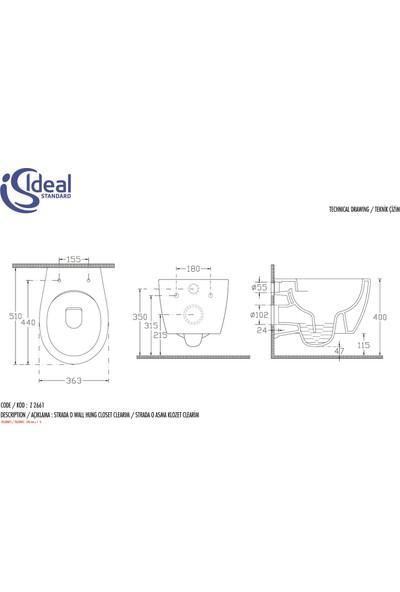Ideal Standard Ideal S. Asma Strada O Clearim Klozet + Soft Kapak