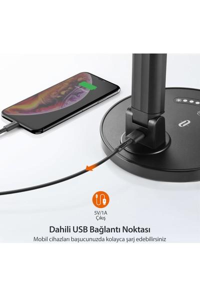 TaoTronics TT-DL13 USB Şarj Portlu 12W LED Masa Lambası Philips EnabLED Programı Üyesi Siyah (5 Renk, 7 Kısıklık Dokunmatik Ayarlı)