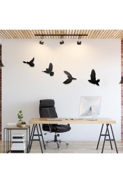 Hellove Dekoratif Ahşap Modern Dörtlü Kuş Duvar Süsü
