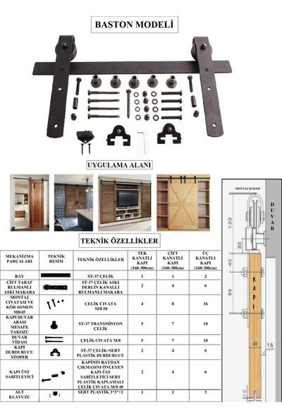 Ahır Kapısı Baston Modeli (Çift Ray-Çift Kanat) Kapı Sürgü Mekanizması