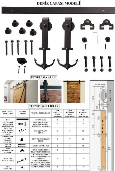 Ahır Kapısı Deniz Çapası Modeli (Tek Ray-Çift Kanat) Kapı Sürgü Mekanizması