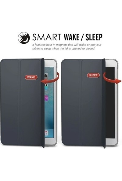 Ceplab Samsung Galaxy Tab A7 T500 Kılıf 10.4 Inç Lüx Smart Cover Kılıf+Tablet Kalem+Nano Ekran Koruyucu Set