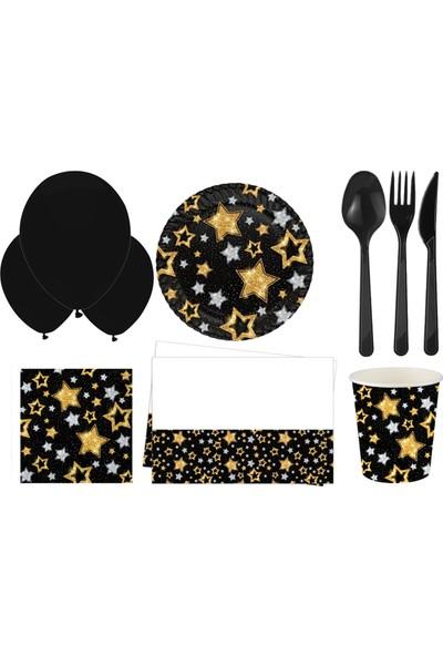 Siyah Yıldızlar Parti Seti 16 Kişilik