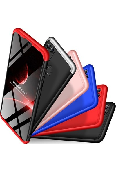Aksesuarkolic Oppo A52 Kılıf 360 Derece Kılıf Siyah - Kırmızı