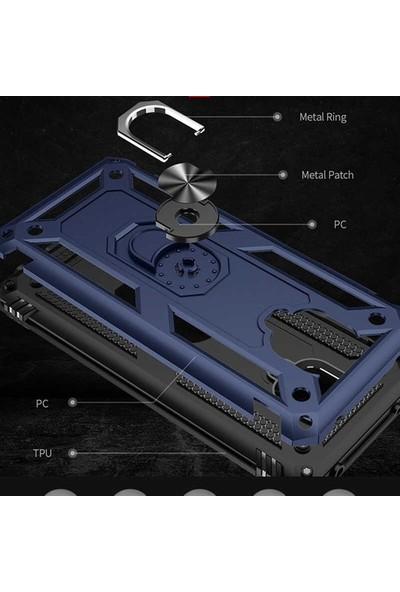 Aksesuarkolic Huawei P40 Lite E Kılıf Vega Yüzüklü Tank Kapak Siyah
