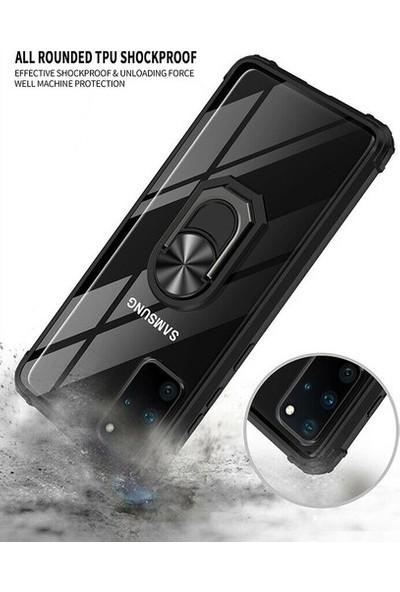 Aksesuarkolic Samsung Galaxy S20 Ultra Kılıf Korumalı Standlı Yüzüklü Tank Kapak + Nano Ekran Koruyucu Siyah