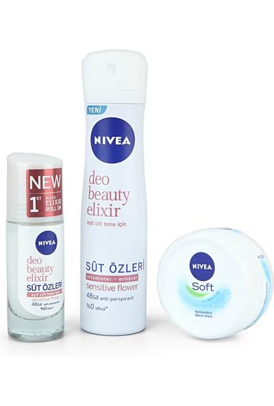 Nivea Beauty Elixir Sensitive Flower Kadın Deodorant 150 ml + Roll On 40 ml + El Kremi 100 ml