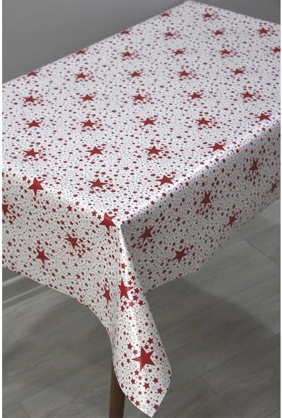 Dede Ev Tekstil Astarlı Silinebilir Pvc Muşamba Masa Örtüsü - Kırmızı Yıldız