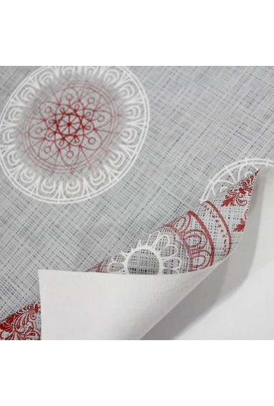 Dede Ev Tekstil Astarlı Silinebilir Pvc Muşamba Masa Örtüsü - Kırmızı Osmanlı Modern
