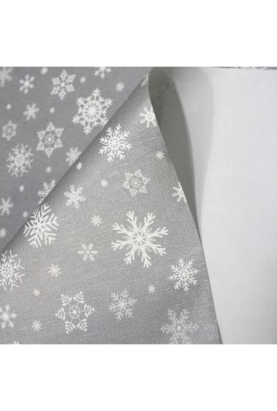 Dede Ev Tekstil Astarlı Silinebilir Pvc Muşamba Masa Örtüsü - Gri Kar Tanesi