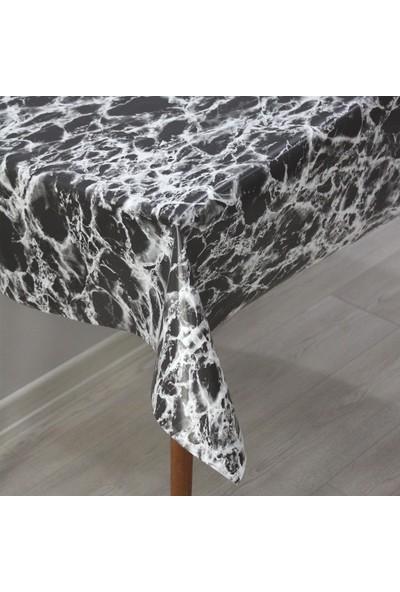 Dede Ev Tekstil Astarlı Silinebilir Pvc Muşamba Masa Örtüsü - Siyah Mermer
