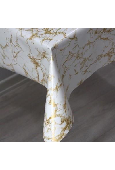 Dede Ev Tekstil Elyaf Astarlı Silinebilir Pvc Muşamba Masa Örtüsü - Mermer Gold
