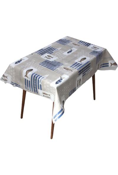Dede Ev Tekstil Astarlı Silinebilir Pvc Muşamba Masa Örtüsü - Ad Tahta Balık