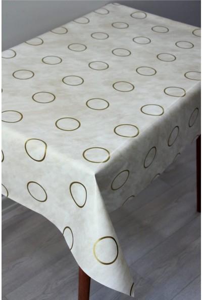 Dede Ev Tekstil Astarlı Halkalı Silinebilir Pvc Leke Tutmaz Muşamba Masa Örtüsü 387-30GLD