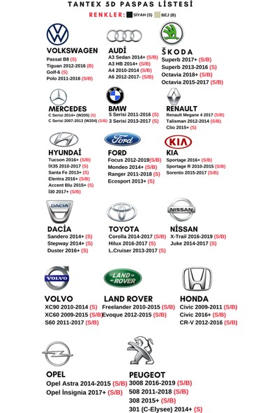 Tantex Opel İnsignia 2017+ 5D Oto Paspası