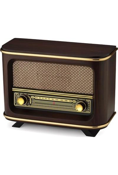 Otantik Hediyelik Fm Bantlı Nostaljik Görünümlü Ahşap Radyo