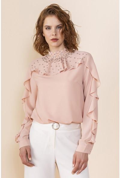 Serpil Volanlı Taş Işlemeli Bluz
