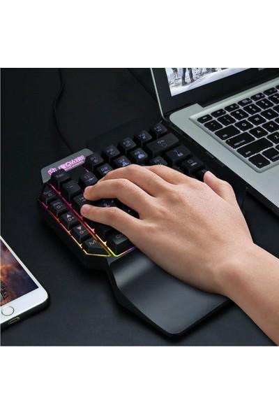 Coverzone F6 LED Işıklı RGB Ergonomik Oyuncu Klavyesi Siyah