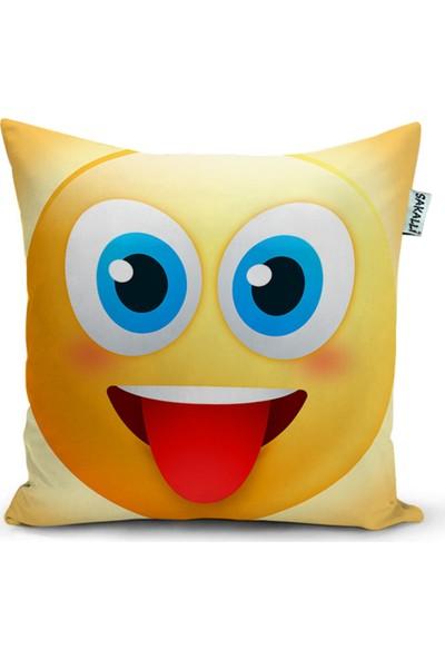 Sakallı Home Emoji Desen 3D Baskılı Dekoratif Kırlent Kılıfı