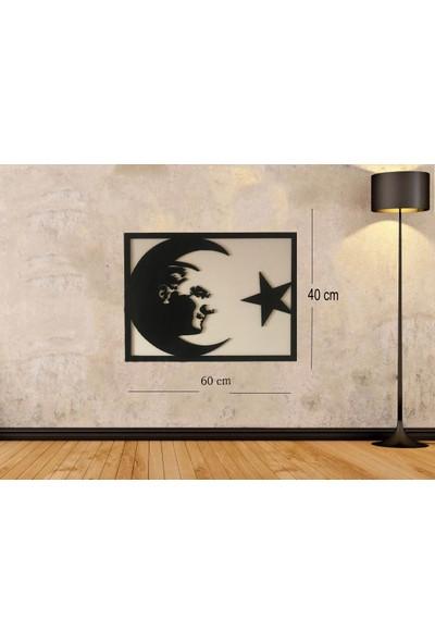 Newnow Dekorasyon Ay Yıldızlı Atatürk Duvar Tablosu