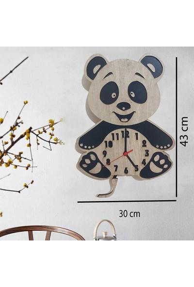 Newnow Dekorasyon Ahşap Ayıcık Sarkaçlı Saat