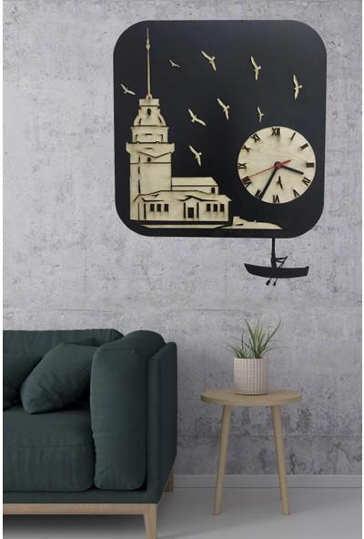 Next Newnow Dekorasyon Özel Ürün Kız Kulesi Ahşap Sallanır Sarkaçlı Duvar Saati