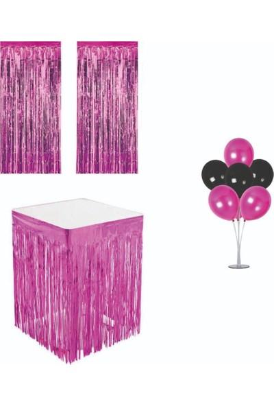 Parti Furyası Püsküllü Metalize Pembe Masa Eteği+Duvar Kapı Perdesi+Balon Standı