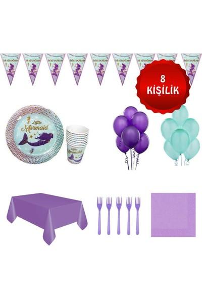 Deniz Kızı Ariel Doğum Günü Parti Seti 8 Kişilik