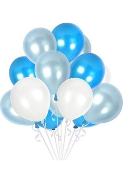 Mavi Beyaz Gri Metalik Balon 100 Lü+Balon Zinciri Kemer Şerid+Balon Pompası