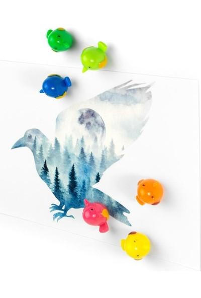 Trendform 2'li Buzdolabı Mıknatısı Kuş ve Kristal Taş