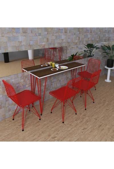 Knsz Masa Sandalye Takımı Huve Cvzkrm 140*040 4 Sandalye Krmkrm